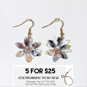 NWT Multi-color Resin Flower Earrings